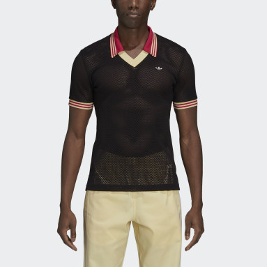 Camiseta Wales Bonner Mesh Polo Shirt Preto Homem Originals