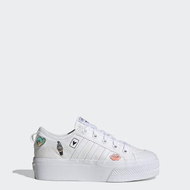 Youth 8-16 Years Originals White Nizza Platform Shoes