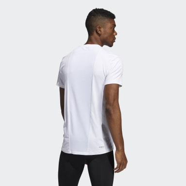 Men Running White Techfit Compression T-Shirt