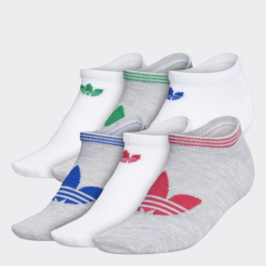 Women's Originals Grey Trefoil Superlite No-Show Socks 6 Pairs