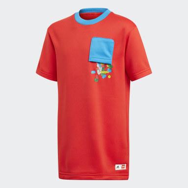Děti Cvičení A Trénink červená Tričko adidas x Classic LEGO® Bricks Loose Fit