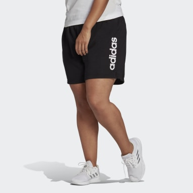 Women Sport Inspired Black Essentials Slim Logo Shorts (Plus Size)