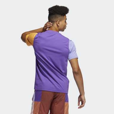 Men Originals Purple Blocked Trefoil Tee