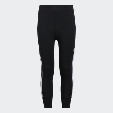 Youth Training Black 3-Stripes 7/8 Jogger Tights
