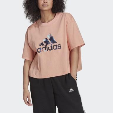 Women's Essentials Pink adidas x Zoe Saldana Crop Logo Tee (Plus Size)