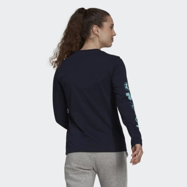 Women's Essentials Blue Floral Long Sleeve Graphic Tee