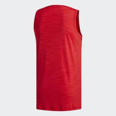 Men Basketball Red Heathered Tank Top