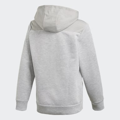 Sweat-shirt à capuche Sport ID Gris Garçons Fitness Et Training