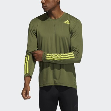 Heren Fitness En Training Groen Techfit 3-Stripes Fitted Longsleeve