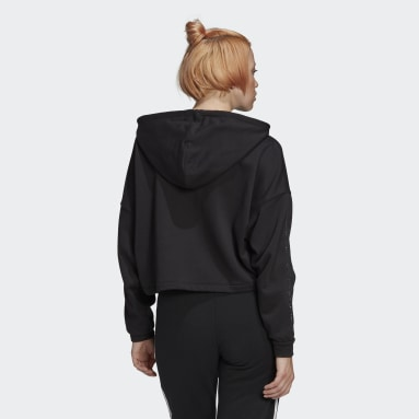 Women's Originals Black Fakten Cropped Hoodie