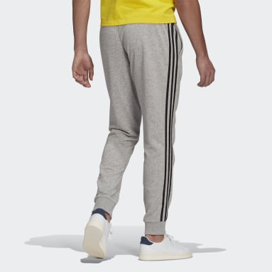 Men Sportswear Grey Essentials French Terry Tapered Cuff 3-Stripes Joggers