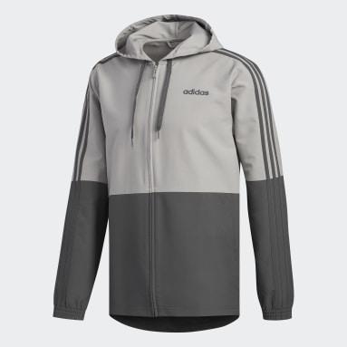 Men Gym & Training Grey Essentials 3-Stripes Windbreaker