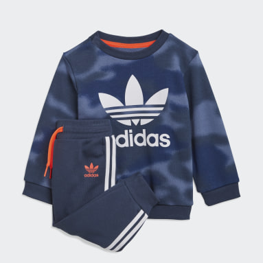 Boys Originals Blue Allover Print Camo Crew Set