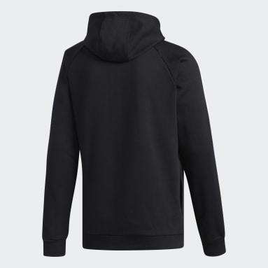 Men's Essentials Black 3-Stripes Linear Logo Pullover Hoodie