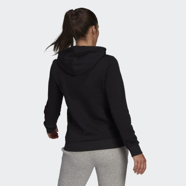 Women Sport Inspired Black LOUNGEWEAR Essentials Logo Fleece Hoodie