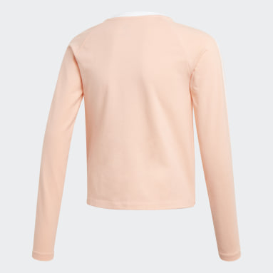Youth Originals Pink 3-Stripes Cropped Tee