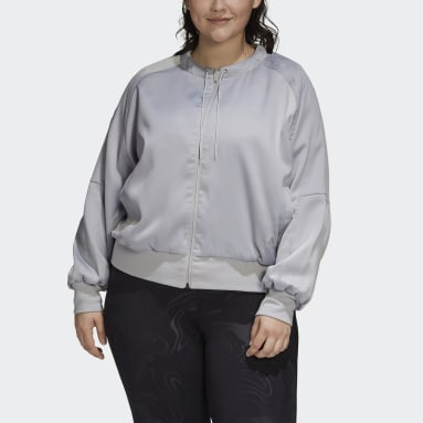 Women Sportswear Grey Glam On Bomber Jacket (Plus Size)