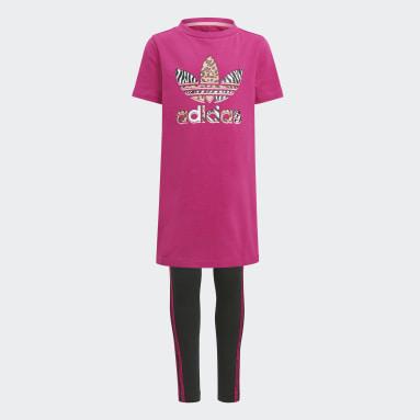 Kinderen Originals Roze Graphic Print T-shirt Jurk Set