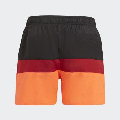 Children Swimming Black Colorblock Swim Shorts