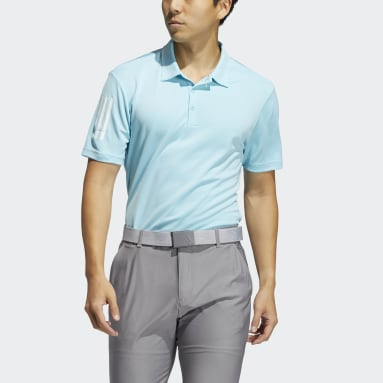 Men Golf Blue 3-Stripe Basic Polo Shirt
