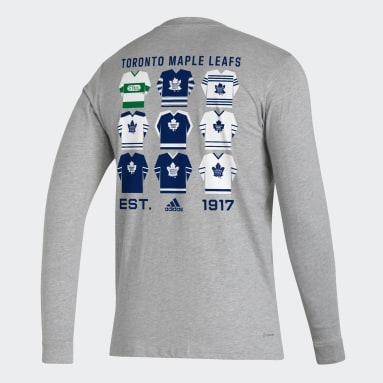Men Hockey Grey Maple Leafs Long Sleeve Tee