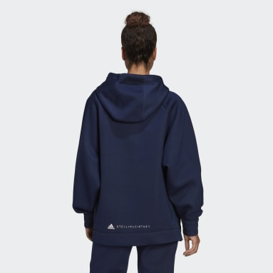 Dam adidas by Stella McCartney Blå adidas by Stella McCartney Half-Zip Hooded Sweatshirt