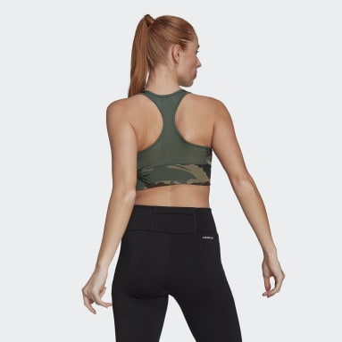 Dam Gym & Träning Grön AEROREADY Designed 2 Move Camouflage-Print Bra Top
