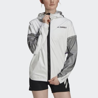 Women TERREX White Terrex Agravic Pro Trail Running Rain Jacket