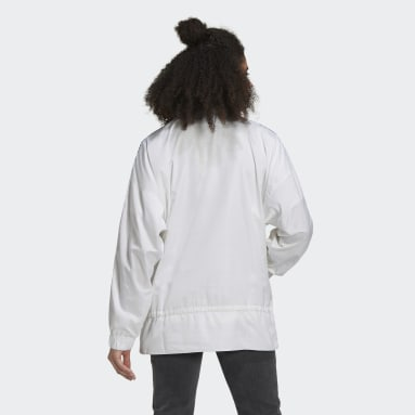 Women Originals White Half-Zip Windbreaker