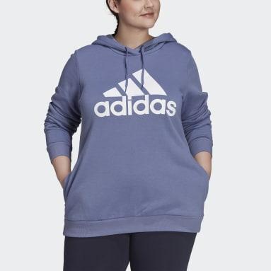 Women Sport Inspired Purple Essentials Logo Fleece Hoodie (Plus Size)