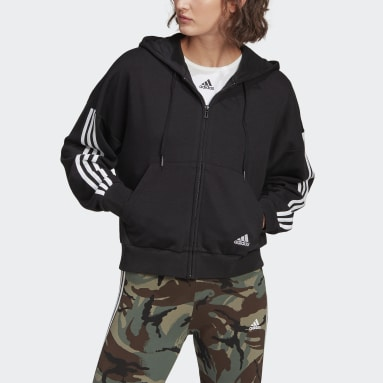 Women Sport Inspired Black adidas Essentials Cut 3-Stripes Full-Zip Hoodie