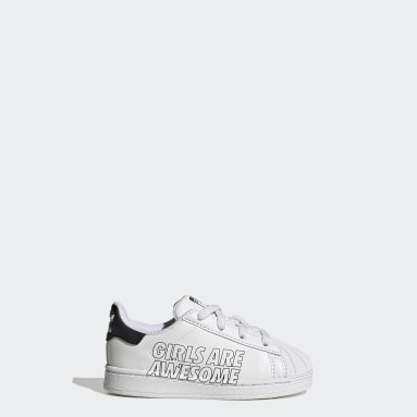 Infant & Toddler Originals White Superstar Girls Are Awesome Shoes