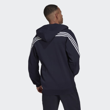 Men Sportswear Blue adidas Sportswear 3-Stripes Hooded Track Top