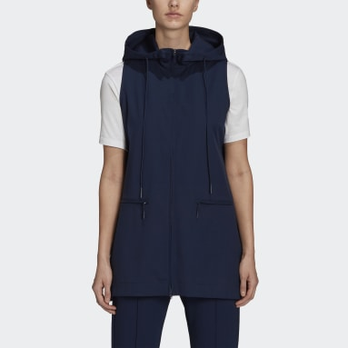 Doudoune sans manches Y-3 Classic Refined Wool Stretch Hooded Bleu Femmes Y-3
