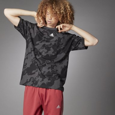 Men Sportswear Grey Allover Print T-Shirt