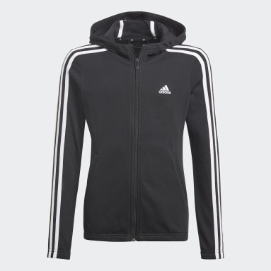 Youth 8-16 Years Sportswear Black Essentials 3-Stripes Hoodie