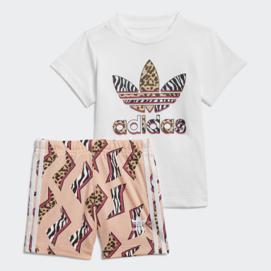 Ensemble Graphic Print Shorts Tee Blanc Enfants Originals