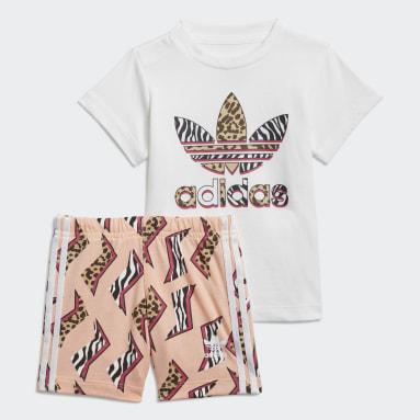 Graphic Print Shorts Tee Sett Hvit