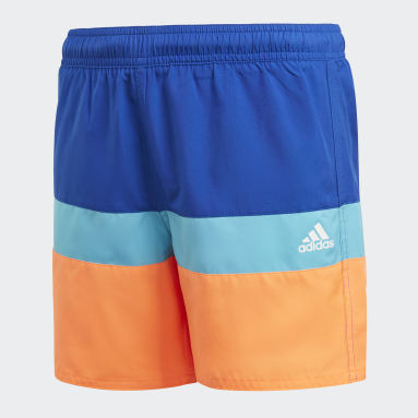 Children Swimming Blue Colorblock Swim Shorts