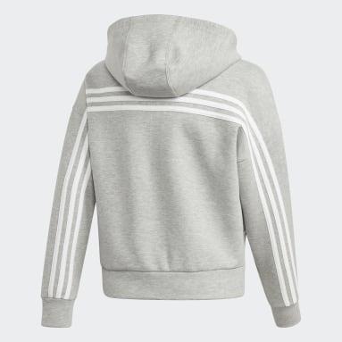Girls Gym & Träning Grå Must Haves 3-Stripes Hoodie