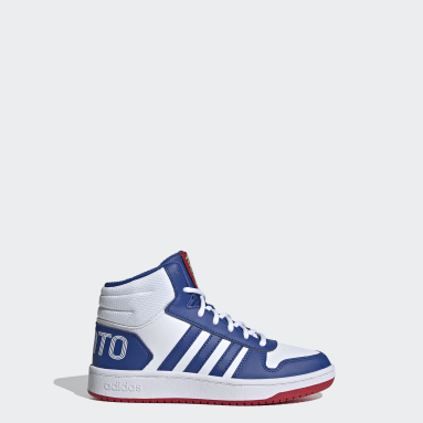 Kids Essentials White Hoops 2.0 Mid Shoes