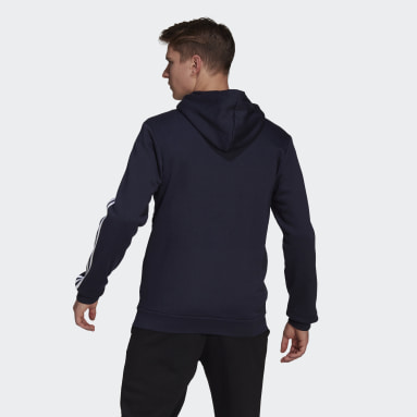 Men Sport Inspired Blue Essentials Colorblock Logo Hoodie