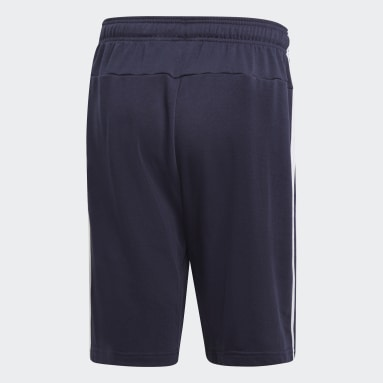 Men Yoga Blue Essentials 3-Stripes French Terry Shorts