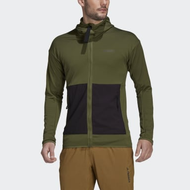 Giacca da hiking Terrex Tech Fleece Lite Hooded Verde Uomo TERREX