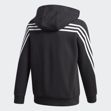 Youth 8-16 Years Gym & Training Black 3-Stripes Doubleknit Full-Zip Hoodie