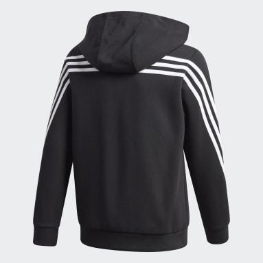 Chlapci Tréning A Fitnes čierna Mikina skapucňou 3-Stripes Doubleknit Full-Zip