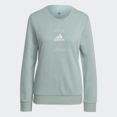 Women Sportswear Green adidas Essentials Stacked Logo Sweatshirt