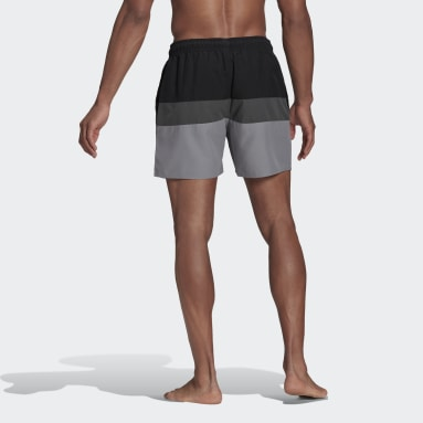Men's Swim Black Short-Length Colorblock Swim Shorts