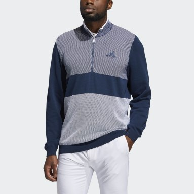 Men Golf Blue Sport Quarter-Zip Sweater