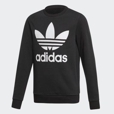 Sweat-shirt Trefoil Crew noir Adolescents Originals